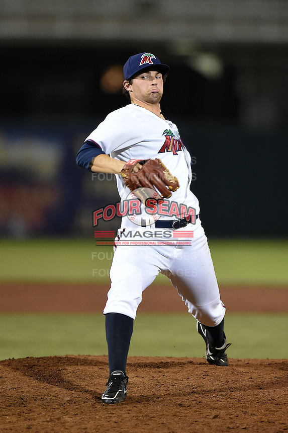 Fort Myers Miracle pitcher Mason Melotakis (9) delivers a pitch during a game against the St. Lucie Mets on April 18, 2014 at Hammond Stadium in Fort Myers, Florida.  St. Lucie defeated Fort Myers 15-9.  (Mike Janes/Four Seam Images)