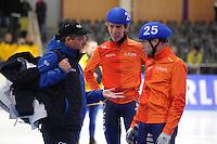 SCHAATSEN: BERLIJN: Sportforum Berlin, 07-12-2014, ISU World Cup, Jillert Anema (trainer/coach Team Clafis) Jorrit Bergsma (NED), Arjan Stroetinga (NED), ©foto Martin de Jong