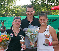 August 9, 2014, Netherlands, Rotterdam, TV Victoria, Tennis, National Junior Championships, NJK,  Prize giving, Richard Krajicek with Tessa van de Ploeg (R) and Claire Verwerda runners up girls doubles 18 years<br /> Photo: Tennisimages/Henk Koster