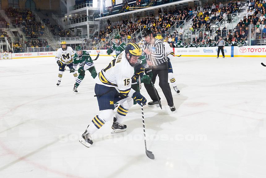 The University of Michigan men's hockey team beats Mercyhurst, 3-2, at Yost Ice Arena in Ann Arbor, Mich., on Oct. 18, 2015.