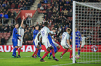 A goalmouth scramble as Jack Stephens (Southampton) of England scores the winning goal in injury time during the Under 21 International Friendly match between England and Italy at St Mary's Stadium, Southampton, England on 10 November 2016. Photo by Andy Rowland.