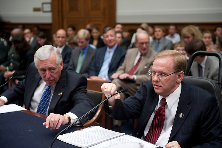 "UNITED STATES - JULY 22: House Majority Leader Steny Hoyer, D-Md. and Rep. Jim Langevin, D-R.I., during a House Judiciary Committee - Hearing Constitution, Civil Rights, and Civil Liberties Subcommittee hearing on ""Americans with Disabilities Act at 20 - Celebrating Our Progress, Affirming Our Commitment.""..(Photo By Douglas Graham/Roll Call via Getty Images)"