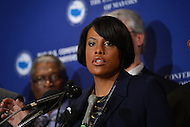 January 17, 2013  (Washington, DC)  Baltimore Mayor Stephanie Rawlings-Blake speaks during a news conference before the start of the U.S. Conference of Mayors 81st annual winter meeting in Washington.  (Photo by Don Baxter/Media Images International)
