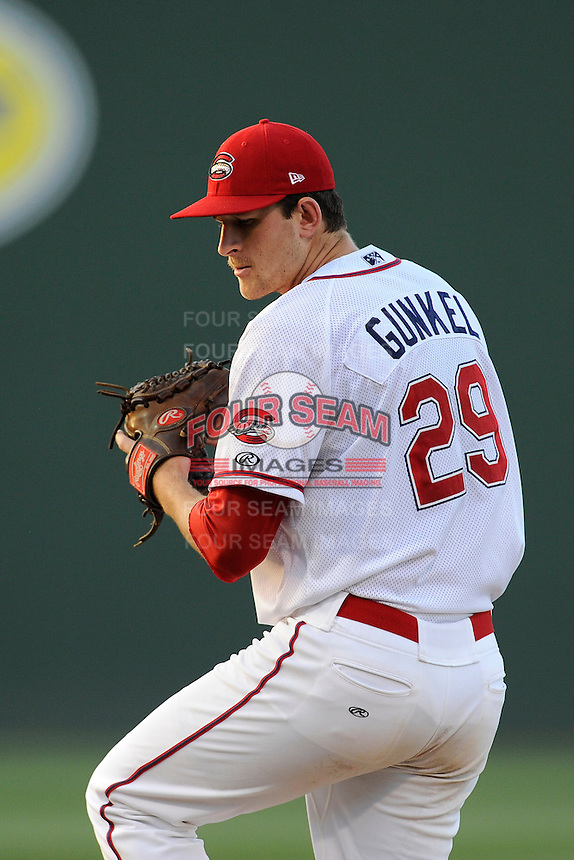 Starting pitcher Joe Gunkel (29) of the Greenville Drive in a game against the Augusta GreenJackets on Friday, May 23, 2014, at Fluor Field at the West End in Greenville, South Carolina. (Tom Priddy/Four Seam Images)