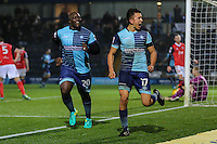 Luke O'Nien of Wycombe Wanderers (17) celebrates after he scores his team's second goal of the game to make it 2-0 during the Sky Bet League 2 match between Wycombe Wanderers and Morecambe at Adams Park, High Wycombe, England on 12 November 2016. Photo by David Horn.