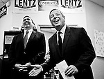 From left, Bryan Lentz, Democratic candidate for U.S. Congress from Pennsylvania's 7th district, and Sen. Dick Durbin, D-Ill., speas to Lentz's campaign staff and volunteers at campaign headquarters in Springfield, Pa., on Oct. 20, 2010.