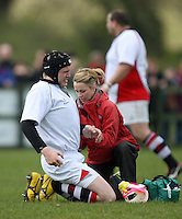 Saturday 12th May 2012  Ulster number 8 David Campbell gets treatment during the Junior Inter-provincial between Ulster and Leinster at the Glynn, Larne, Count Antrim.<br /> <br /> Photo Credit - John Dickson / DICKSONDIGITAL