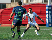 WASHINGTON, DC - FEBRUARY 16: Dylan Taikato-Simpson #15 of Old Glory DC moves up on Shalom Suniula #13 of the Seattle Seawolves during a game between Seattle Seawolves and Old Glory DC at Cardinal Stadium on February 16, 2020 in Washington, DC.