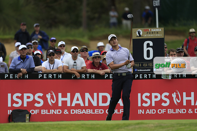 Sihwan Kim (KOR) on the 6th tee during Round 3 of the ISPS HANDA Perth International at the Lake Karrinyup Country Club on Saturday 25th October 2014.<br /> Picture:  Thos Caffrey / www.golffile.ie