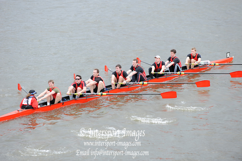 Hammersmith, GREAT BRITAIN,  Army Rowing Club, passing Hammersmith Bridge,  competing in the  2010 Head of the River Race.  Championship  Course, River Thames,  [Reversed] Chiswick to Putney.  Saturday  27/03/2010  [Mandatory Credit, Peter Spurrier/Intersport-images]