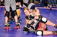 The Brooklyn Bombshells after at a Gotham Girls Roller Derby bout in New York City on July 22, 2006.