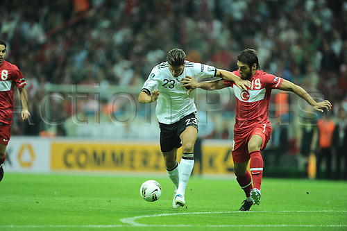 07 10 2011  2012 Euro Football. Turkey versus Germany at the Turkcell Telekom Arena Stadium in Istanbul Turkey   Mario Gomez of Germany and Egemen Korkmaz of Turkey. Mandatory Credit: Actionplus