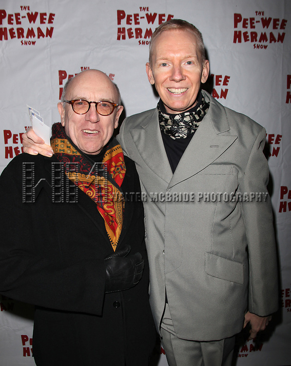 "John Epperson and Mart Crowley arrives at the Opening Night Performance of ""The Pee-Wee Herman Show"" at The Stephen Sondheim Theatre  in New York City."