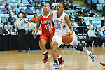 05 December 2012: North Carolina's Latifah Coleman (2) and Radford's Ashley Buckhannon (15). The University of North Carolina Tar Heels played the Radford University Highlanders at Carmichael Arena in Chapel Hill, North Carolina in an NCAA Division I Women's Basketball game. UNC won the game 64-44.