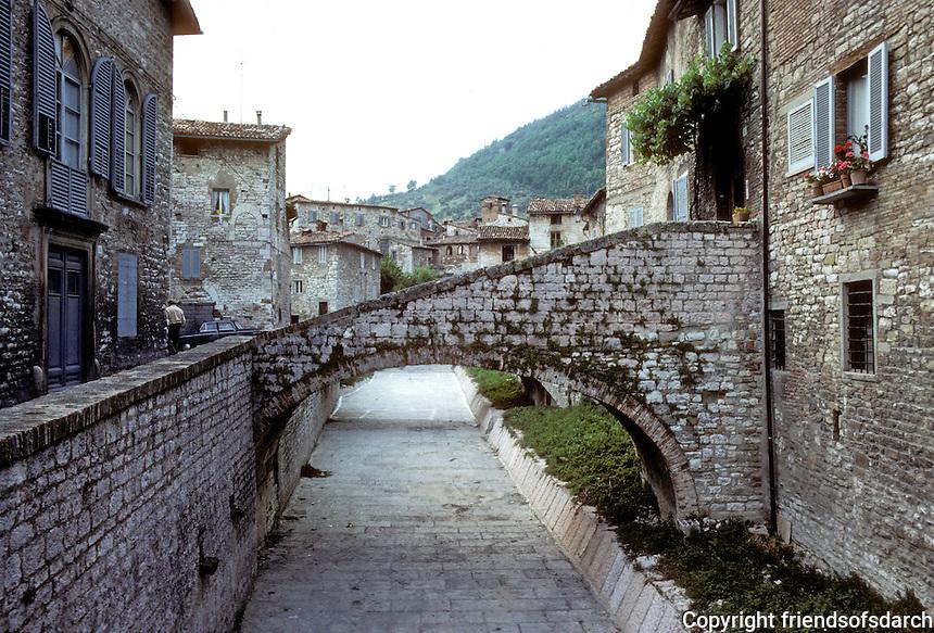 Italy: Gubbio--Paved rivercourse through town. Photo '83.