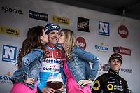 Podium kisses for Bob Jungels (LUX/Deceuninck Quick Step)<br /> <br /> <br /> 71st Kuurne-Brussel-Kuurne (2019)<br /> Kuurne > Kuurne 201km (BEL)<br /> <br /> ©kramon