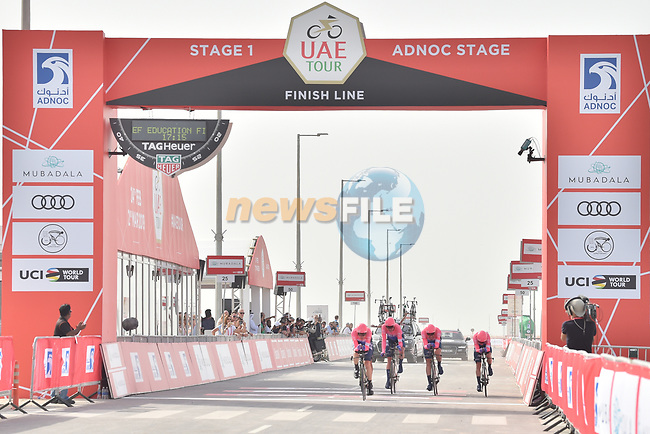 EF Education First approach the finish line of Stage 1 of the 2019 UAE Tour, a team time trial running 16km around Al Hudayriat Island, Abu Dhabi, United Arab Emirates. 24th February 2019.<br /> Picture: LaPresse/Massimo Paolone | Cyclefile<br /> <br /> <br /> All photos usage must carry mandatory copyright credit (© Cyclefile | LaPresse/Massimo Paolone)