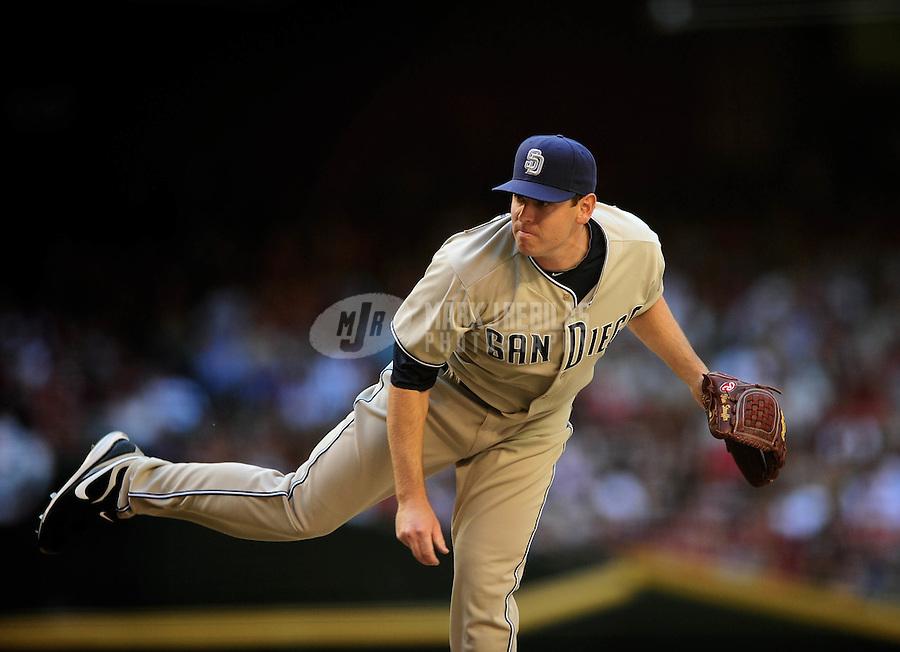 Apr. 5, 2010; Phoenix, AZ, USA; San Diego Padres pitcher Tim Stauffer against the Arizona Diamondbacks during opening day at Chase Field. Mandatory Credit: Mark J. Rebilas-