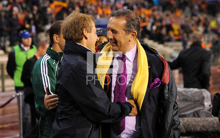 Juergen Klinsmann, coach of team USA, and Belgium's coach Georges Leekens during the friendly match Belgium against USA at King Baudoin stadium in Brussel, Belgium on September 06th, 2011.