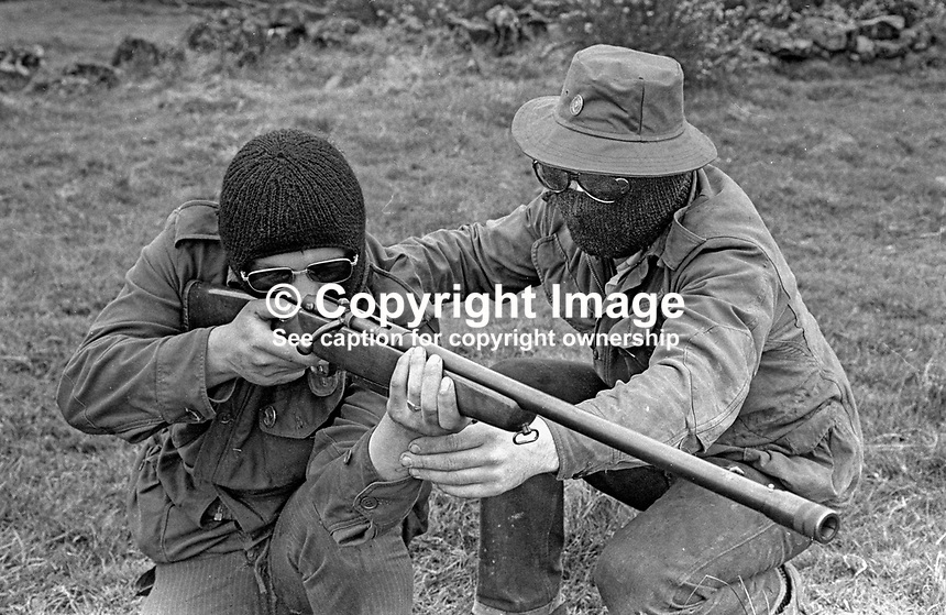 UDA training camp, somewhere near Belfast, N Ireland, UK where members are given firearms instruction. May 1972. 197205000364d<br /> <br /> Copyright Image from Victor Patterson, 54 Dorchester Park, Belfast, UK, BT9 6RJ<br /> <br /> Tel: +44 28 9066 1296<br /> Mob: +44 7802 353836<br /> Voicemail +44 20 8816 7153<br /> Email: victorpatterson@me.com<br /> Email: victorpatterson@gmail.com<br /> <br /> IMPORTANT: My Terms and Conditions of Business are at www.victorpatterson.com