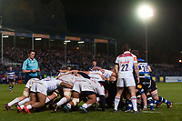 A general view of a scrum late in the match. Anglo-Welsh Cup match, between Bath Rugby and Leicester Tigers on November 10, 2017 at the Recreation Ground in Bath, England. Photo by: Patrick Khachfe / Onside Images