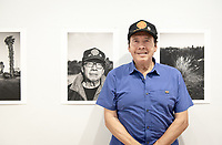 Local resident Bob Ramírez and former Electrician Apprentice for Southern Pacific Railroads.<br /> Opening Reception for South of Fletcher: Stories from the Bowtie, Sept. 13, 2018 at the Weingart Gallery. South of Fletcher: Stories from the Bowtie is a multi-platform storytelling project by Fonografia Collective, produced by Clockshop. Ruxandra Guidi and Bear Guerra have been working at the Bowtie parcel for the past year, talking to people who frequent the site, and learning more about the historic, present day, and potential uses of this unique plot of land next to the LA River. Their research will unfold through a podcast series, three public discussions, and an exhibition of photography at Occidental College. Sponsored by Oxy Arts.<br /> (Photo by Marc Campos, Occidental College Photographer)