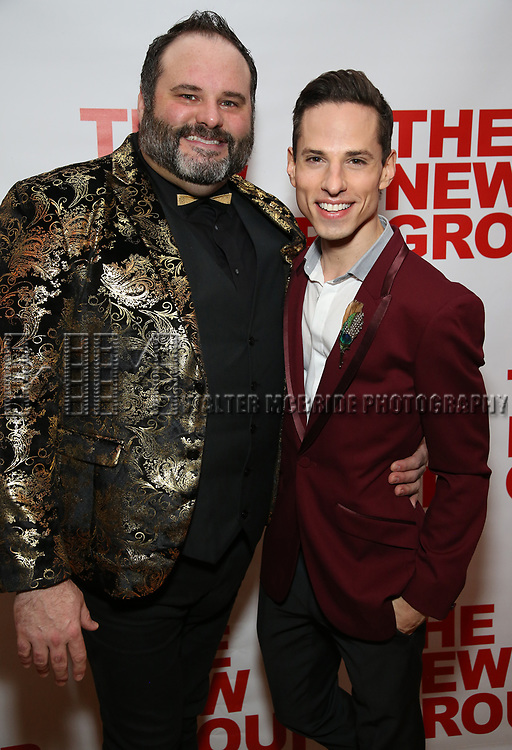 """Luke Grooms and Sean Patrick Doyle attends the Off-Broadway Opening Night Premiere of  """"Jerry Springer-The Opera"""" on February 22, 2018 at the Roundabout Rehearsal Studios in New York City."""