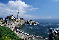 lighthouse, Cape Elizabeth, ME, Maine, Portland Headlight along the rocky coastline of the Atlantic Ocean.