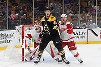 September 26, 2018: Boston Bruins center Danton Heinen (43) plays at the net in front of Detroit Red Wings goaltender Jonathan Bernier (45) and defenseman Joe Hicketts (2) during the NHL pre-season game between the Detroit Red Wings and the Boston Bruins held at TD Garden, in Boston, Mass. Detroit defeats Boston 3-2 in overtime. Eric Canha/CSM