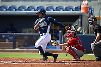 GCL Rays outfielder Garrett Whitley (20) at bat in front of catcher Andrew Noviello (59) during the first game of a doubleheader against the GCL Red Sox on August 4, 2015 at Charlotte Sports Park in Port Charlotte, Florida.  GCL Red Sox defeated the GCL Rays 10-2.  (Mike Janes/Four Seam Images)