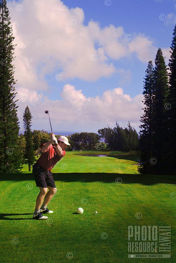 A man playing golf at Kapalua, Maui.