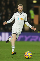Oliver McBurnie of Swansea City in action during the Premier League match between Watford and Swansea City at the Vicarage Road, Watford, England, UK. Saturday 30 December 2017