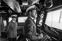 - Italian Navy, Vittorio Veneto cruiser, officers on the bridge  (May 1984)<br />