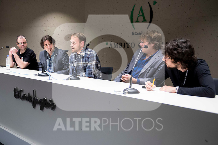 "The director of the festival, Luis Rosales, (L) american director of the film Jason Sheedy (C) and american producer Kyle Steinike during the press conference of the film ""Patient"" during the Madrid International Fantastic Film Festival Nocturna in Madrid. May 25 2016. (ALTERPHOTOS/Borja B.Hojas)"