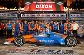 Scott Dixon, Chip Ganassi Racing Honda celebrates in victory lane with his team