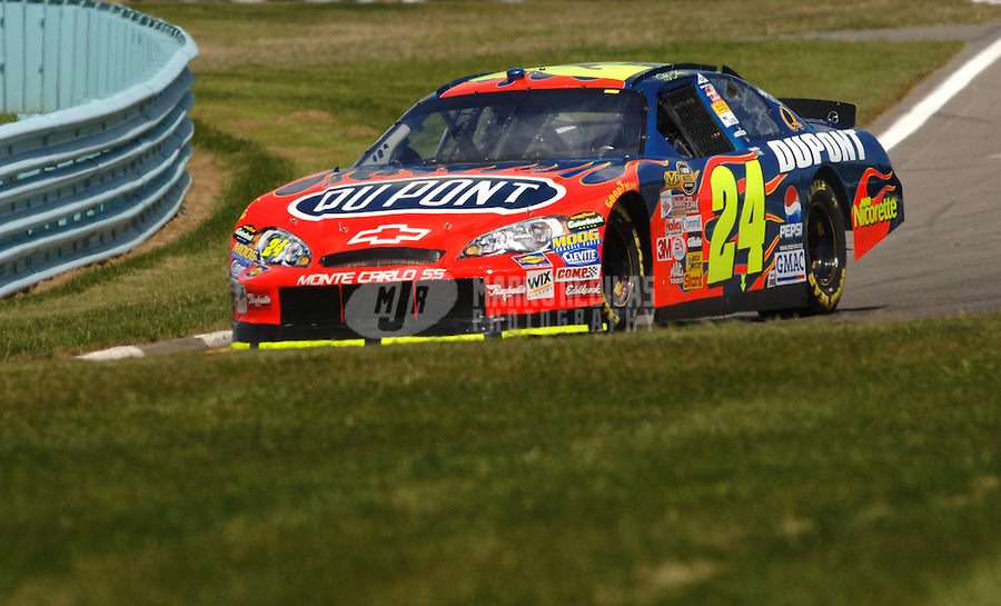 Aug. 11, 2006; Watkins Glen, NY, USA; Nascar Nextel Cup driver Jeff Gordon (24) during practice for the AMD at the Glen. Mandatory Credit: Mark J. Rebilas