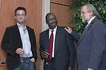 Matt McAllister, Dele Olojede and Tony Marro at event to honor Matt McAllester and Moises Saman, in the auditorium of Newsday, in Melville, NY in April, 2003. in affirmation of their safe return after being held for a weekin a prison in Iraq while covering the US-Iraq war from inside Iraq.