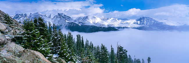 Mummy Range, mountains and low clouds, subalpine in Rocky Mountain National Park, Colorado, USA