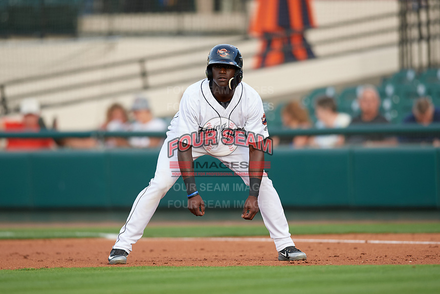Lakeland Flying Tigers center fielder Daz Cameron (25) leads off first base during a game against the Tampa Tarpons on April 5, 2018 at Publix Field at Joker Marchant Stadium in Lakeland, Florida.  Tampa defeated Lakeland 4-2.  (Mike Janes/Four Seam Images)