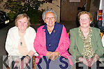 OLDEST RESIDENTS: The oldest residents of Railway Terrace enjoying a great time at their get together at Stokers Lodge restaurant and bar on Saturday l-r: Mrs. Maeve O'Brien, Mrs. Peggy Greensmyth and Mrs. Kathleen Hurley-Maher.