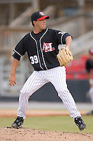 Relief pitcher Carlos Amaro (39) of the Hickory Crawdads in action versus the Charleston RiverDogs at L.P. Frans Stadium in Hickory, NC, Sunday, May 4, 2008.