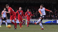 Olly Lee of Luton Town scores the winning goal during the Sky Bet League 2 match between York City and Luton Town at Bootham Crescent, York, England on 27 February 2016. Photo by Liam Smith.