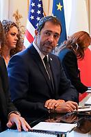 Christophe Castaner - Ministre de l Interieur<br /> Parigi Place Beauveau 5/4/2019 <br /> G7 Ministri dell'interno <br /> Foto JB Autissier/Panoramic/Insidefoto