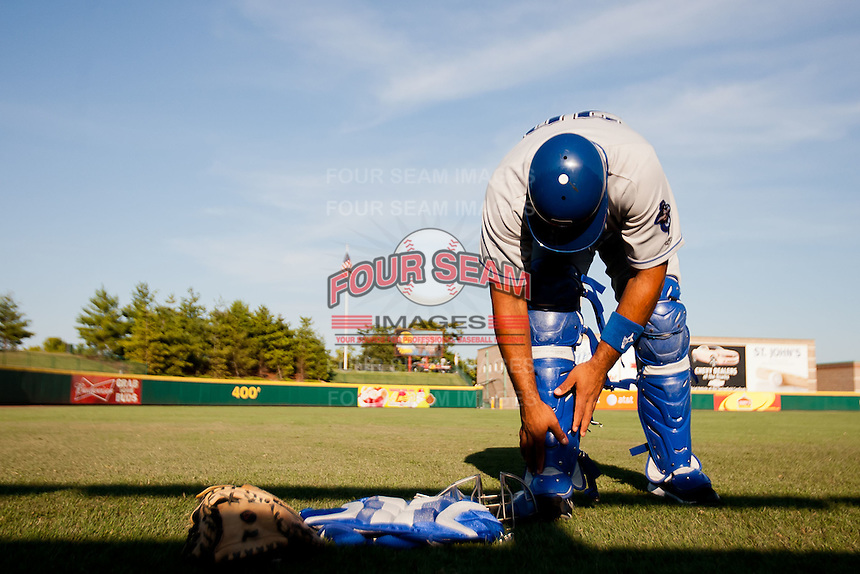Wilin Rosario (20) of the Tulsa Drillers gears up prior to a game against the Springfield Cardinals at Hammons Field on July 18, 2011 in Springfield, Missouri. Tulsa defeated Springfield 13-8. (David Welker / Four Seam Images)
