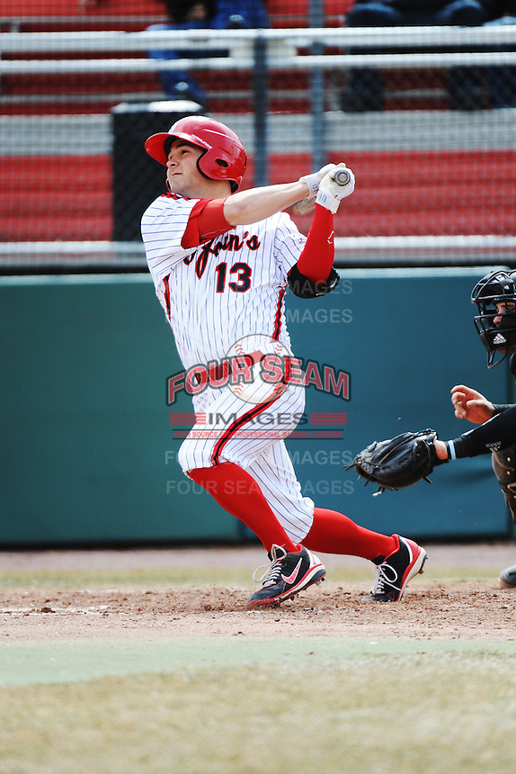 St. John's University Redstorm infielder Zach Lauricella (13) during game 1 of a double header against the University of Cincinnati Bearcats at Jack Kaiser Stadium on March 28, 2013 Queens, New York.  St. John's defeated Cincinnati 6-5 in game 1.                                                                 (Tomasso DeRosa/ Four Seam Images)