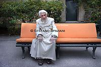 Pope Emeritus Benedict XVI, Photographed in the Vatican Gardens on June 25, 2019.