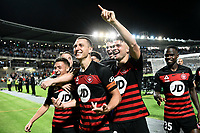 28th February 2020; Netstrata Jubilee Stadium, Sydney, New South Wales, Australia; A League Football, Sydney FC versus Western Sydney Wanderers; Mitchell Duke scorer of the only goal in the game celebrates with his teammates after the final whistle
