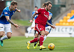 St Johnstone v Aberdeen&hellip;15.09.18&hellip;   McDiarmid Park     SPFL<br />Stevei May is closed down by Ross Callachan and Jason Kerr<br />Picture by Graeme Hart. <br />Copyright Perthshire Picture Agency<br />Tel: 01738 623350  Mobile: 07990 594431