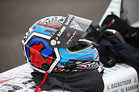 Apr 20, 2018; Baytown, TX, USA; Detailed view of the helmet of NHRA top fuel driver Antron Brown during qualifying for the Springnationals at Royal Purple Raceway. Mandatory Credit: Mark J. Rebilas-USA TODAY Sports