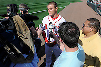 Pitcher Madison Younginer (31) of the Greenville Drive talks with reporters during Media Day just prior to the start of the 2013 season on Tuesday, April 2, 2013, at Fluor Field at the West End in Greenville, South Carolina. Younginer was a 7th Round pick of the Boston Red Sox in the 2009 First-Year Player Draft out of Mauldin High School. (Tom Priddy/Four Seam Images)